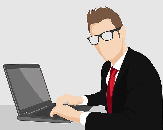 muž, brýle, počítač